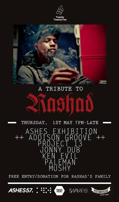 DJ Rashad tribute exhibition by Ashes 57